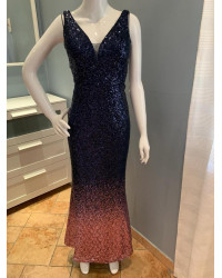 sequin ombre dark blue and pink dress