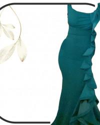 فستان شبكه أخضر